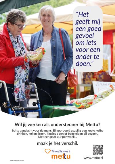 Mettu poster ondersteuner. Wil jij werken bij Mettu?